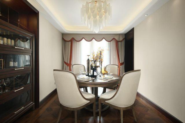 餐厅咖啡色餐桌美式风格装潢图片