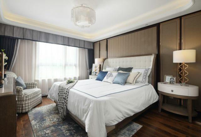 卧室咖啡色背景墙美式风格装修设计图片