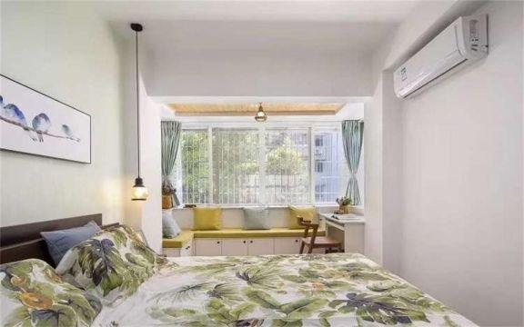 卧室绿色窗帘现代简约风格装潢效果图