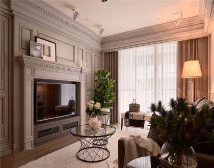 客厅灰色窗帘新古典风格装修效果图