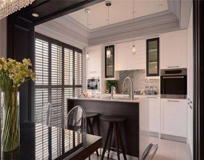 厨房白色橱柜新古典风格装潢效果图