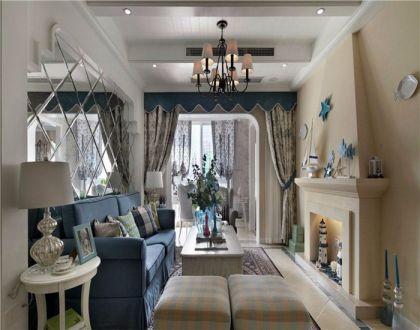 客厅蓝色沙发地中海风格装饰效果图