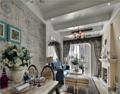 客厅蓝色窗帘地中海风格装修图片