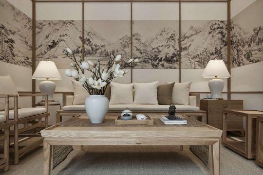 客厅米色背景墙中式风格装饰设计图片