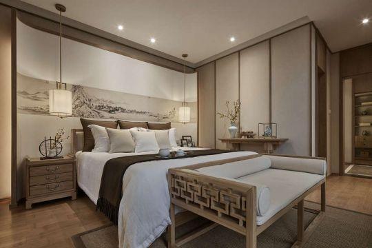卧室米色床中式风格效果图
