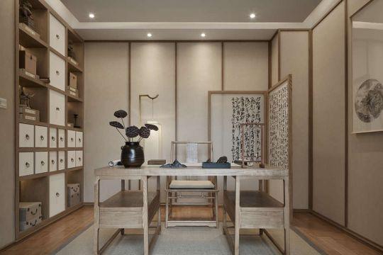 书房米色书桌装饰实景图
