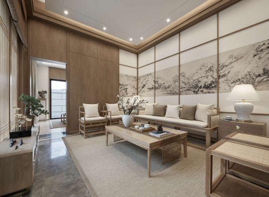 客厅米色沙发中式风格装潢效果图