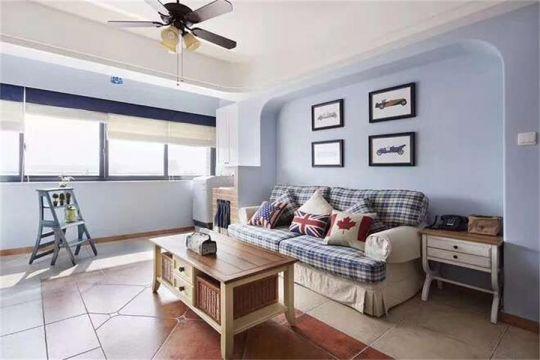 客厅蓝色照片墙地中海风格装修图片
