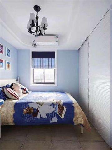 现代蓝色卧室平面图
