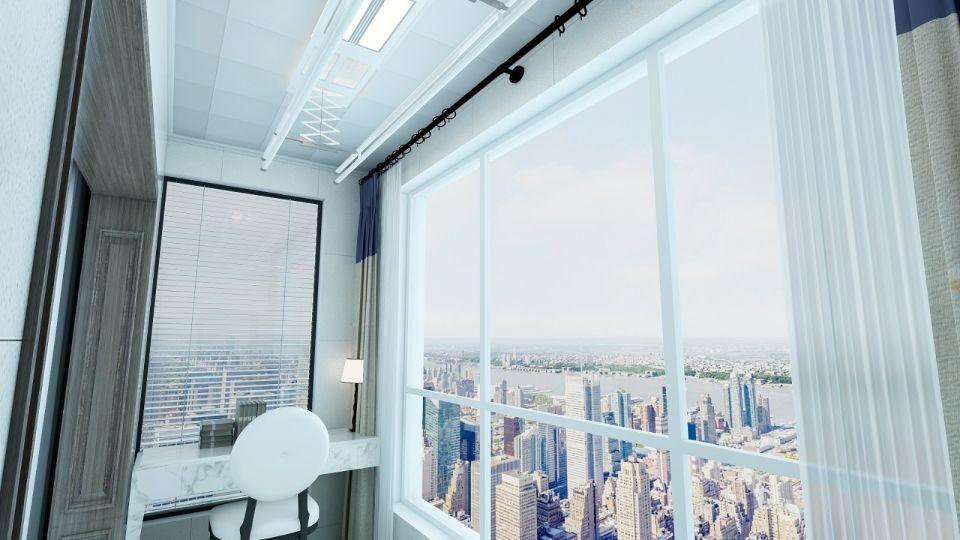 阳台白色落地窗现代风格效果图