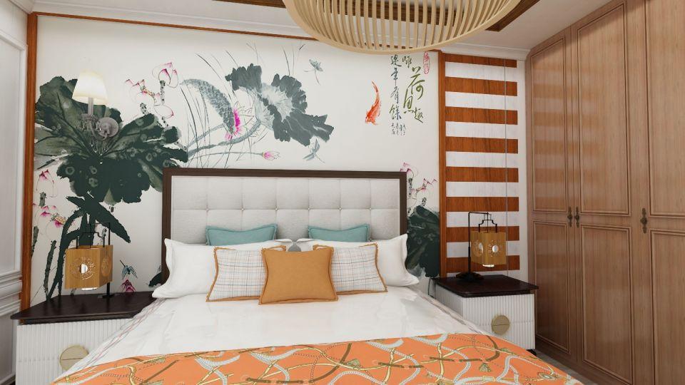 卧室彩色背景墙中式风格装饰设计图片