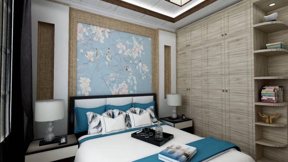 卧室灰色衣柜中式风格装潢设计图片