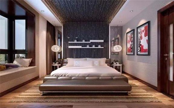 卧室黑色背景墙现代风格装潢图片