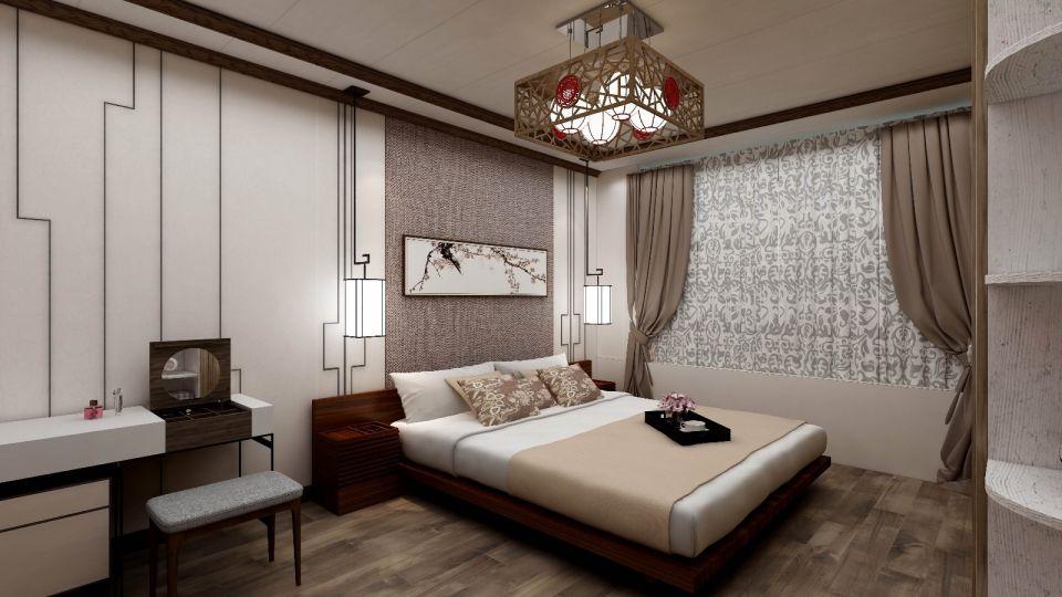 卧室咖啡色窗帘中式风格装饰效果图