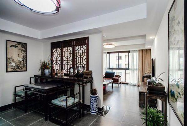 客厅米色窗帘中式风格装修效果图