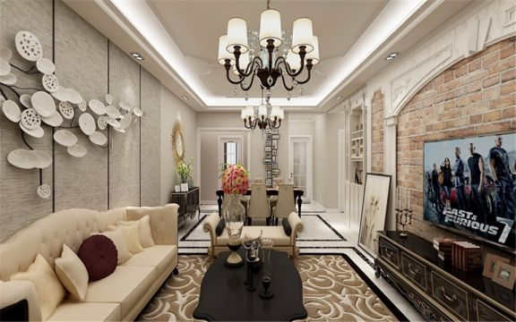 客厅米色沙发法式风格装潢效果图