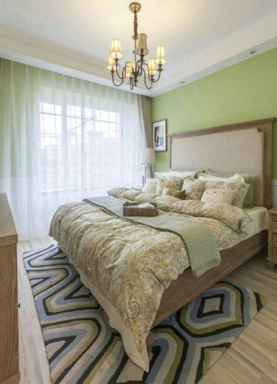 卧室咖啡色床美式风格装饰图片