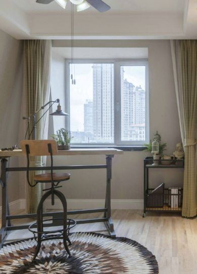 书房黄色书桌美式风格装饰设计图片