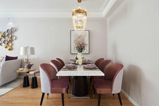 餐厅白色餐桌现代简约风格装潢图片