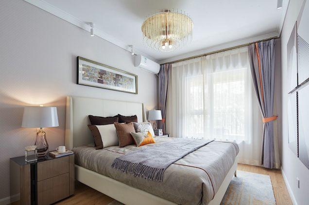 卧室紫色窗帘现代简约风格装修设计图片