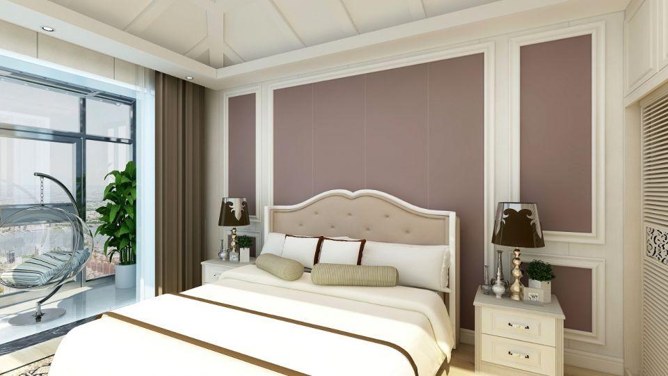 卧室粉色背景墙装潢图