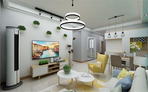 客厅米色电视柜北欧风格效果图