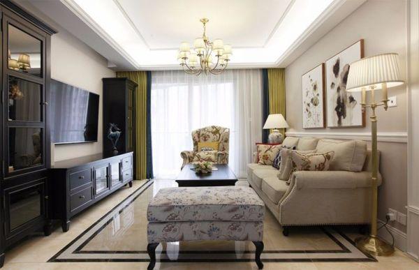 114平美式风格三居室装修效果图