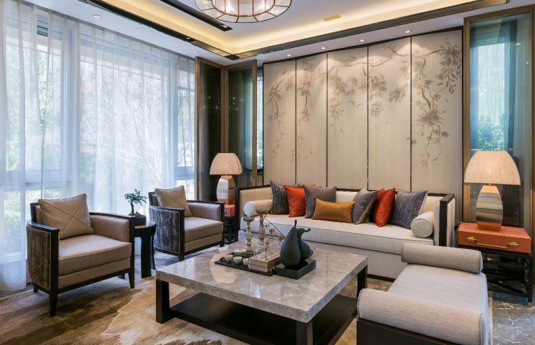 115平中式风格三居室装修效果图