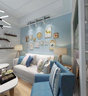 客厅蓝色照片墙装潢实景图片