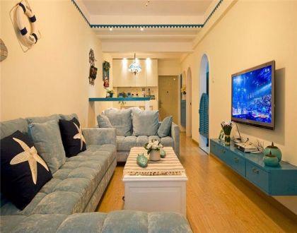 78平地中海风格两居室装修效果图