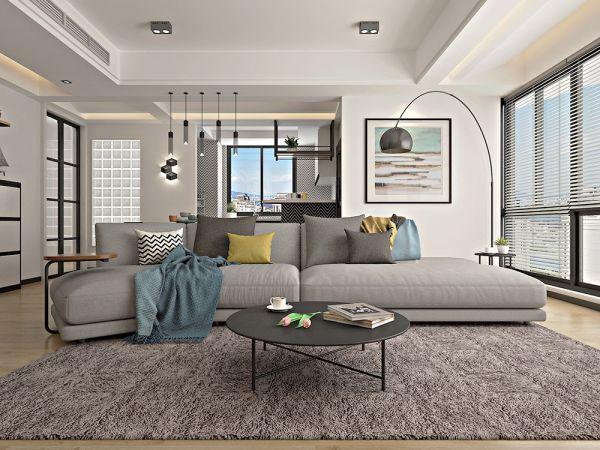 清新客厅沙发装潢实景图