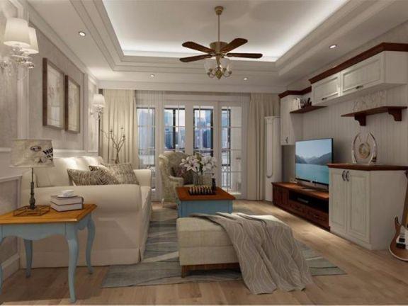 87平欧式田园风格三室一厅装修效果图