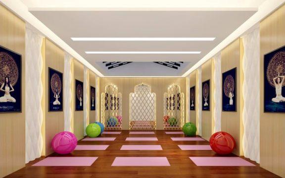 健身房黄色背景墙设计图片