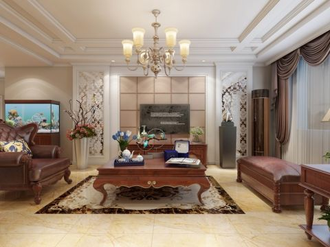 140平古典風格三室兩廳裝修效果圖