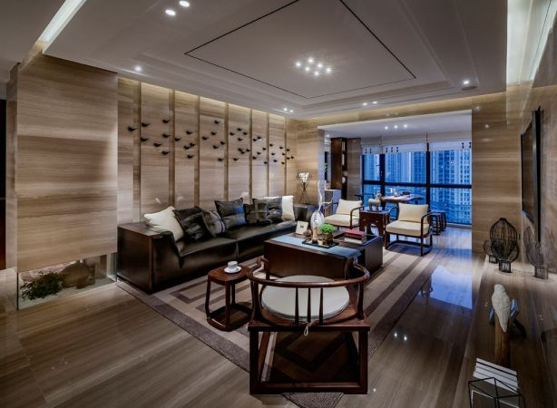 2020中式150平米效果圖 2020中式三居室裝修設計圖片