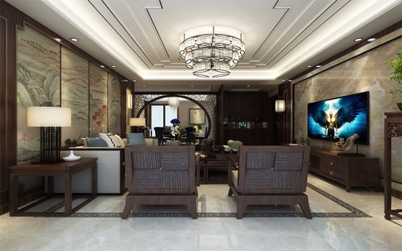 113平新中式风格四居室装修效果图