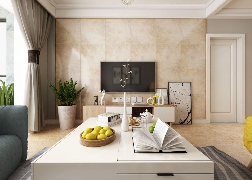 典雅黄色客厅平面图