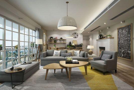 客厅灰色沙发美式风格效果图