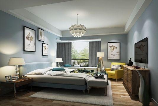 卧室蓝色背景墙美式风格装潢设计图片