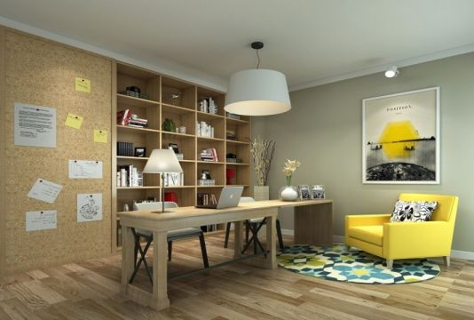 书房黄色书架美式风格装饰效果图