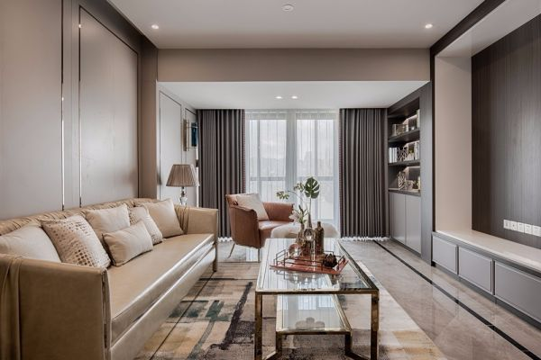 客厅米色沙发现代风格装潢效果图