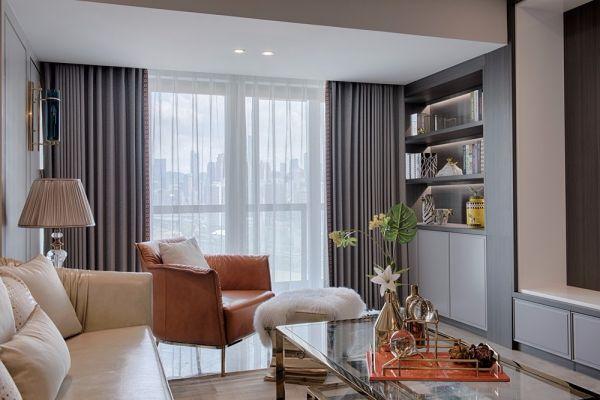 客厅灰色窗帘现代风格装修图片