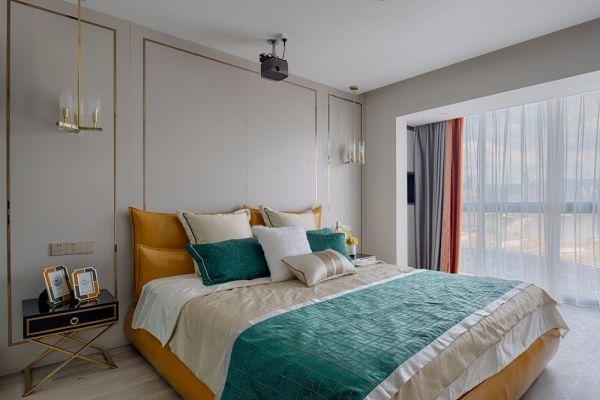 卧室橙色窗帘现代风格装饰图片