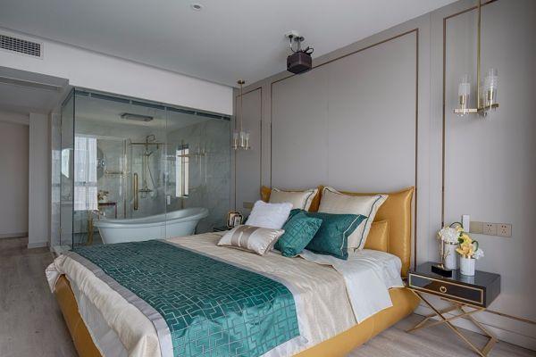 卧室灰色背景墙现代风格装潢图片
