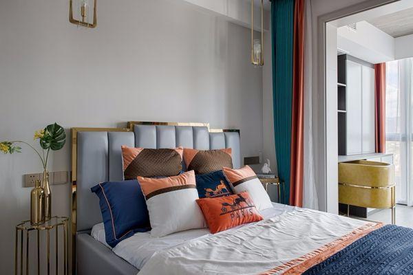 卧室蓝色床现代风格装修设计图片