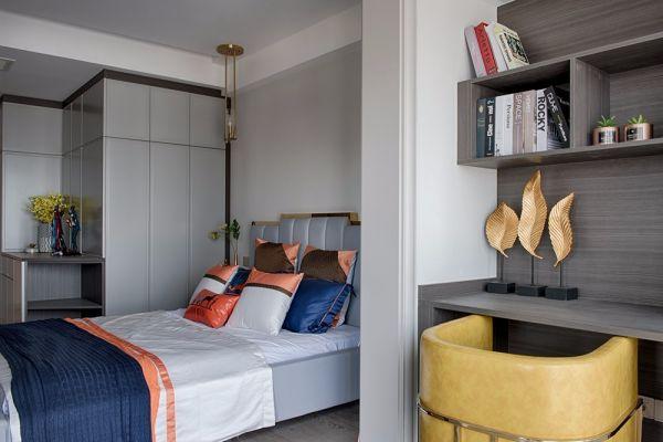 卧室灰色书桌现代风格装饰设计图片