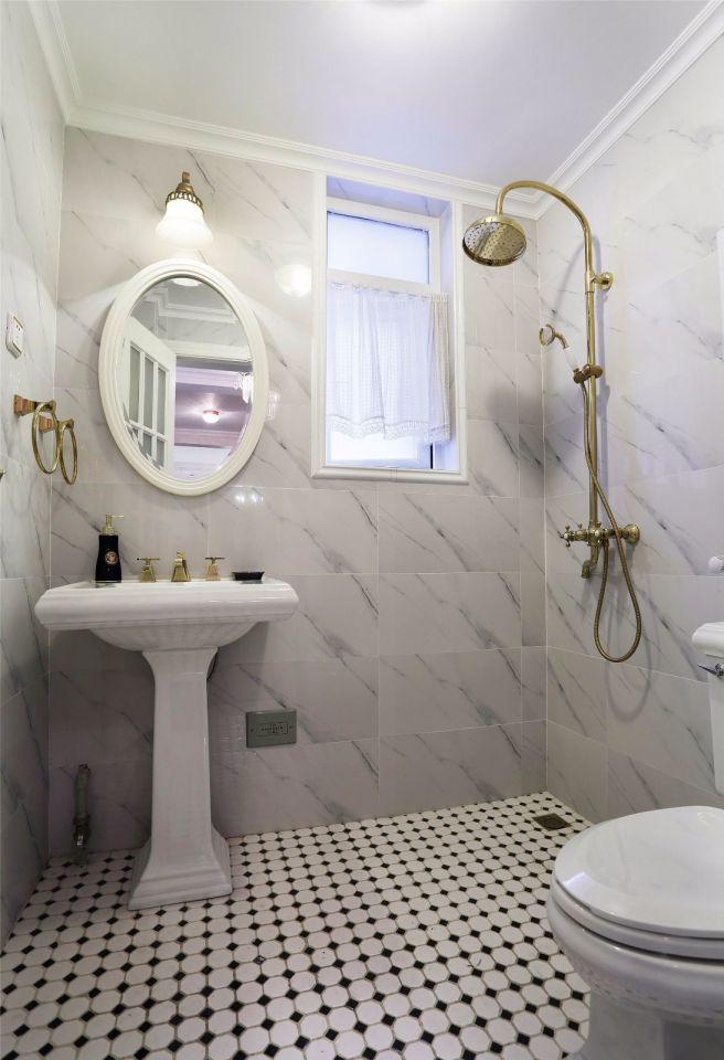 卫生间米色背景墙美式风格装修效果图