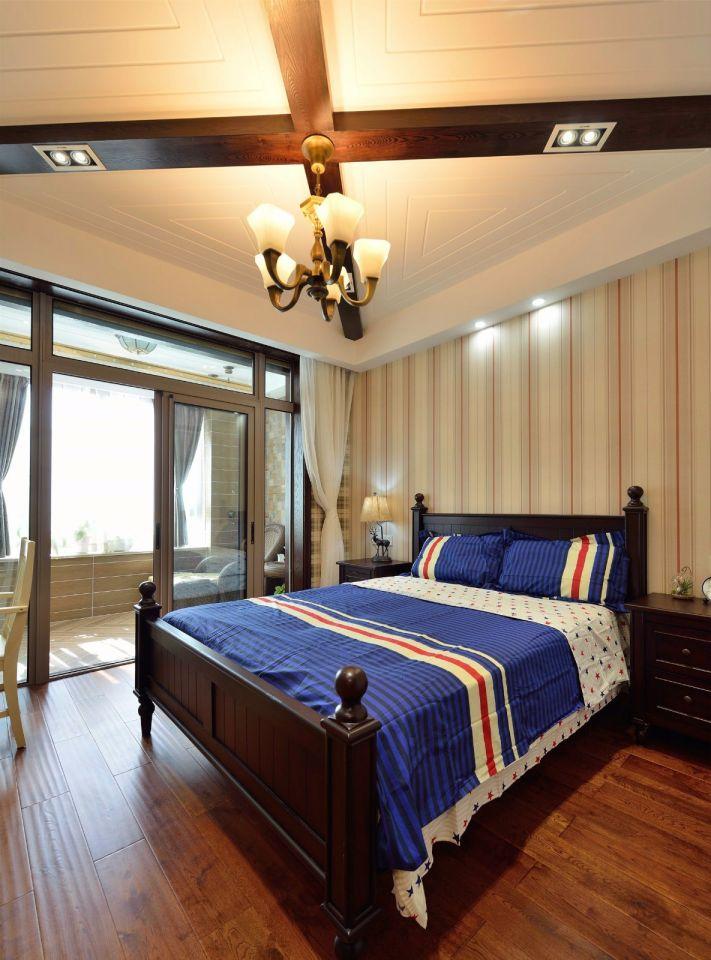 卧室咖啡色床美式风格装饰设计图片