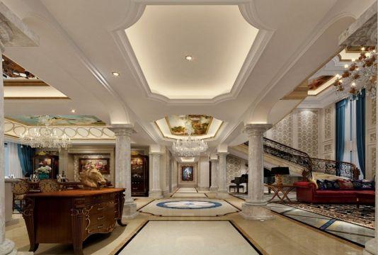 客厅地砖美式风格装潢图片