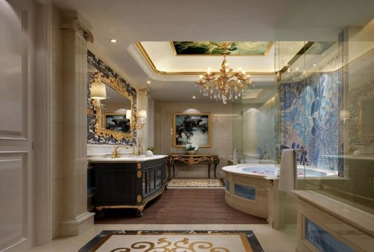 大气白色浴室装饰实景图
